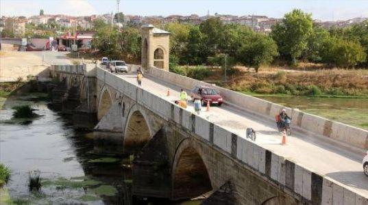 Tarihi Tunca Köprüsü Onarılıyor